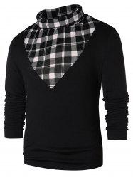 Checked Panel Turtle Neck T-shirt -
