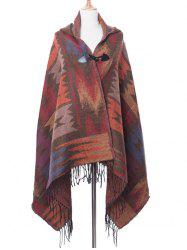 Bohemian Geometric Pattern Irregular Fringed Shawl -