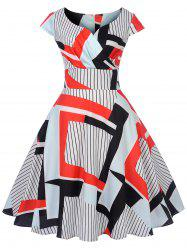 Vintage Striped Geometric Pin Up Dress -