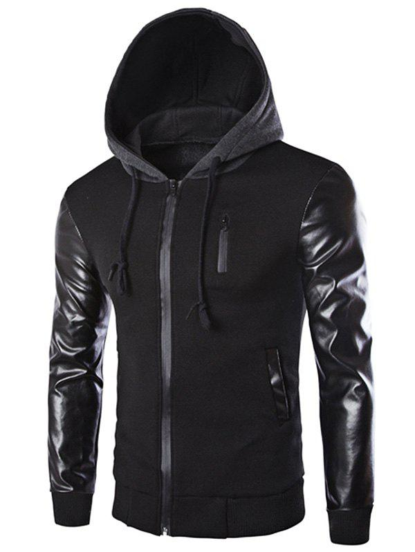 Fancy Vogue Drawstring Hooded PU Leather Spliced Zipper Design Long Sleeves Men's Slimming Jacket