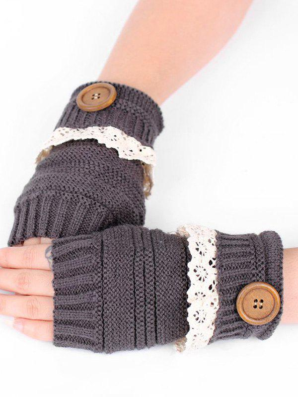 Sale Lace Button Semi-full Finger Knitted Gloves
