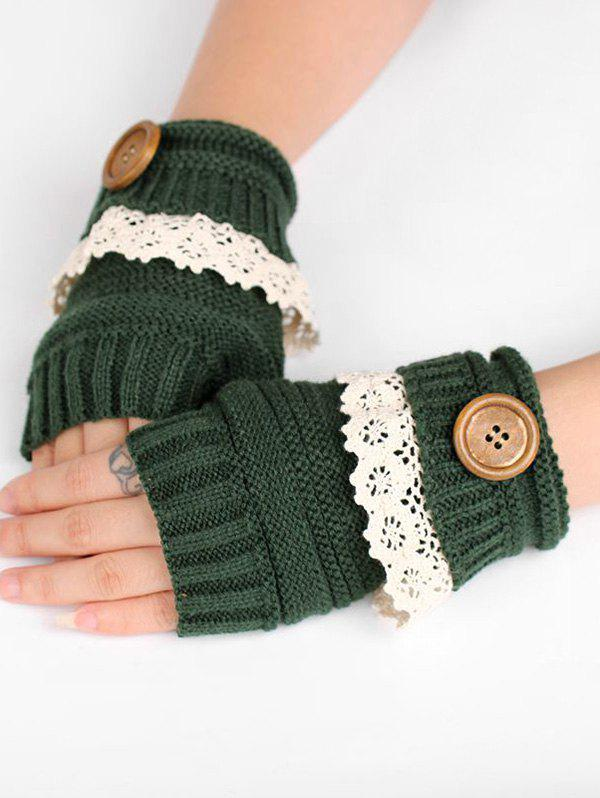 Hot Lace Button Semi-full Finger Knitted Gloves