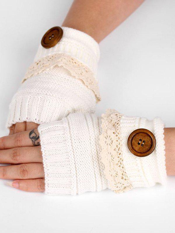 New Lace Button Semi-full Finger Knitted Gloves