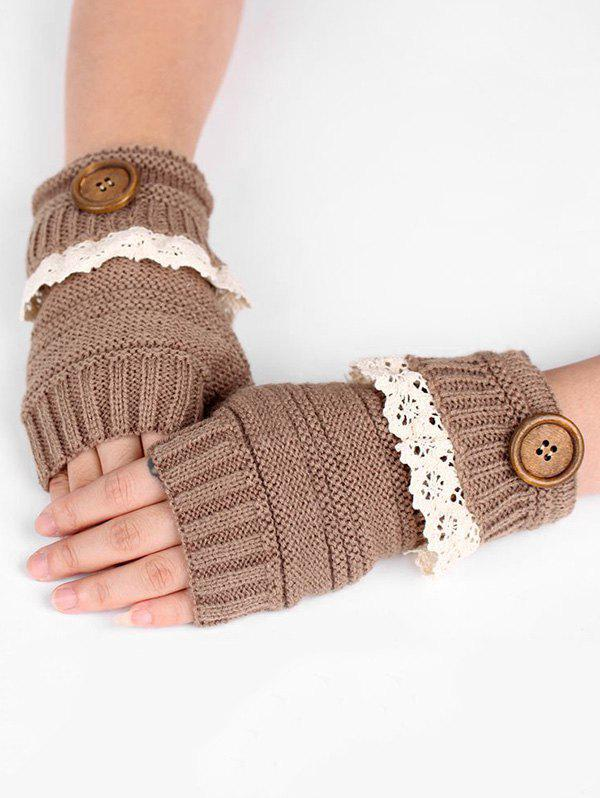 Buy Lace Button Semi-full Finger Knitted Gloves