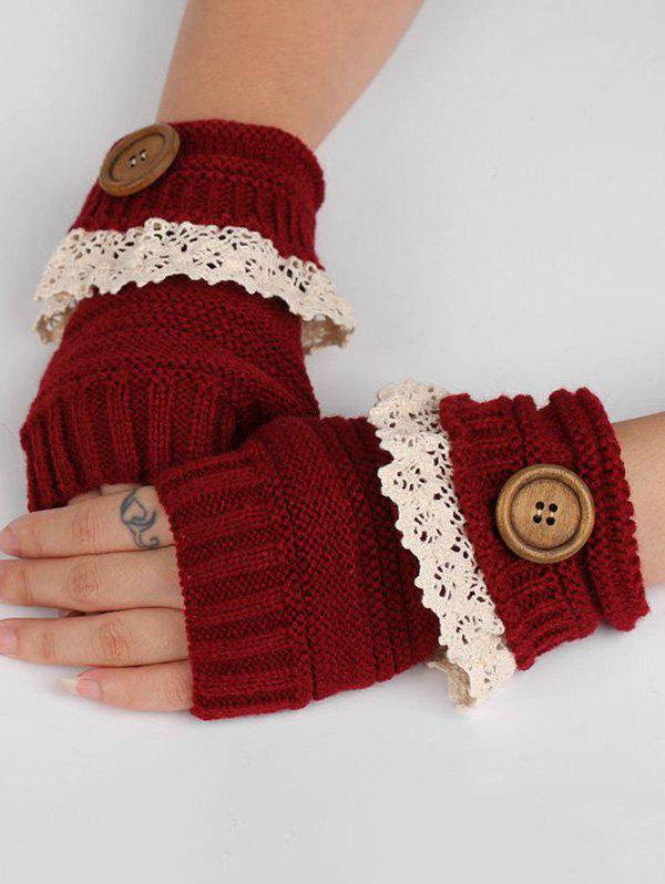 Store Lace Button Semi-full Finger Knitted Gloves