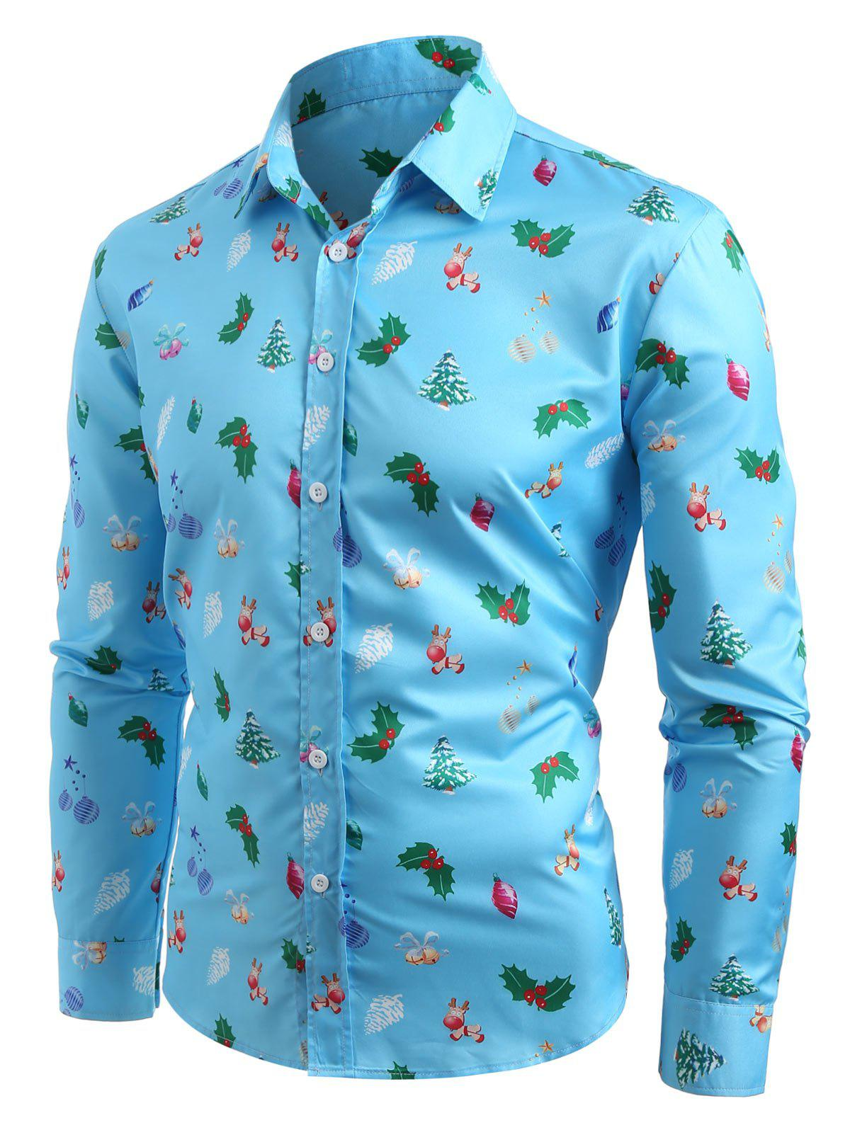 Outfits Christmas Tree Printed Turn Down Collar Shirt