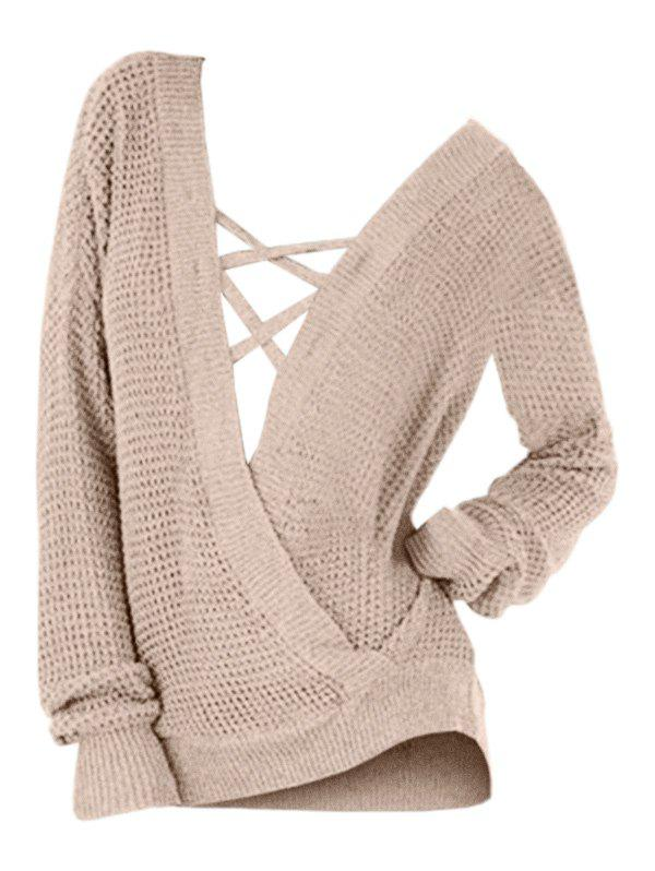 Hot Plus Size Drop Shoulder Criss Cross Slit Sweater