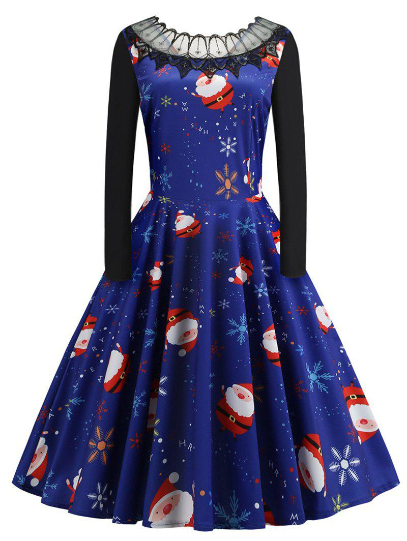 Online Plus Size Vintage Lace Panel Christmas Graphic Flare Dress