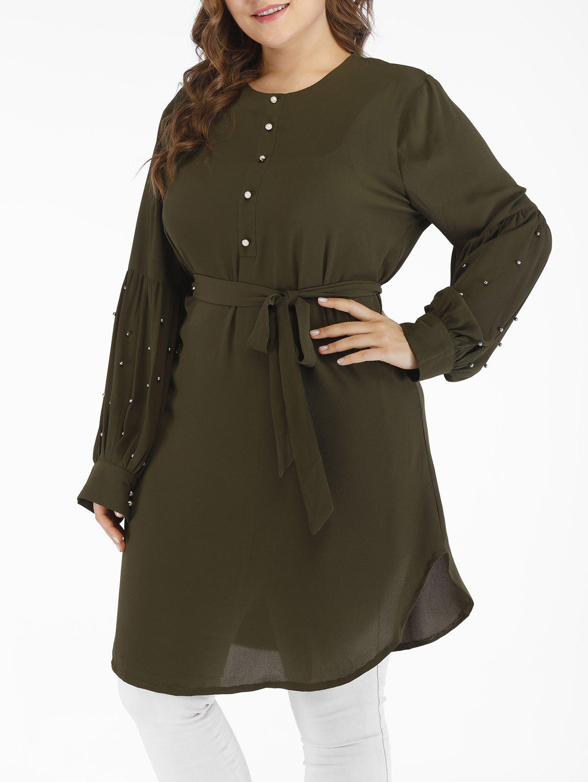 Trendy Plus Size Long Sleeves Belt Dress with Beading