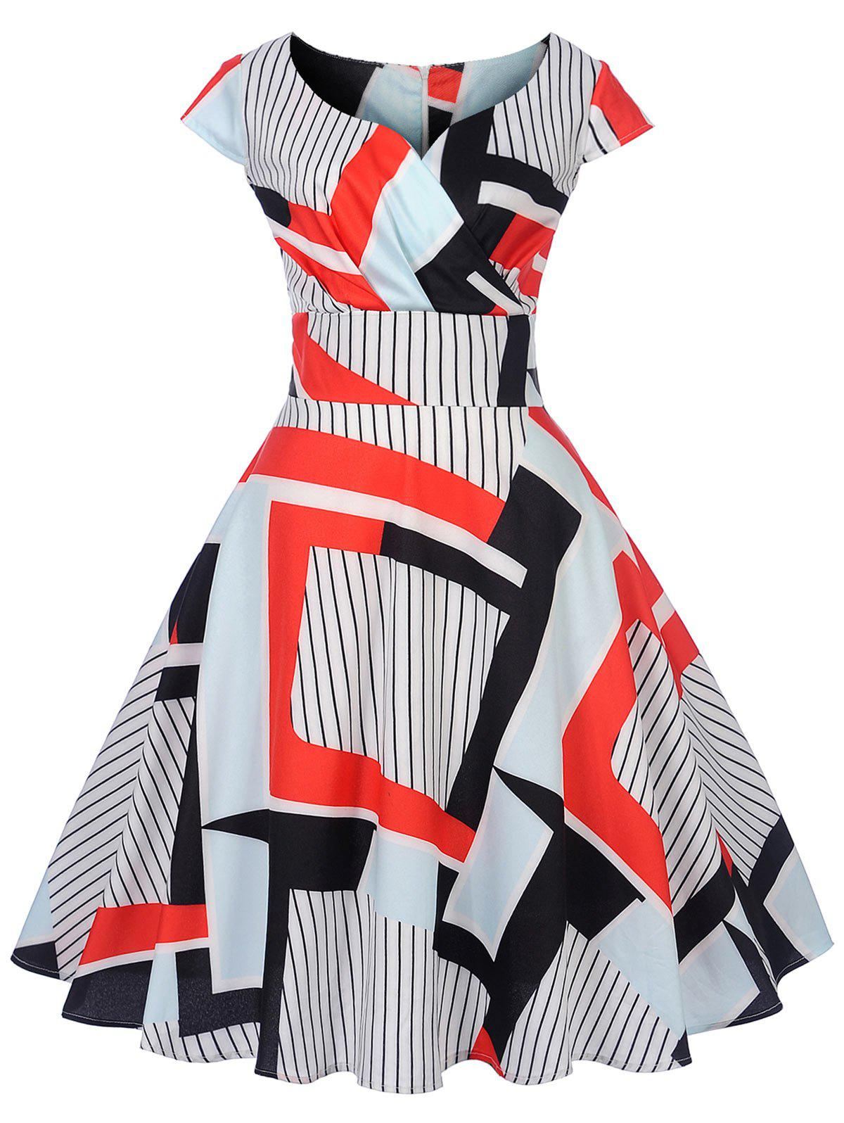 Best Vintage Striped Geometric Pin Up Dress