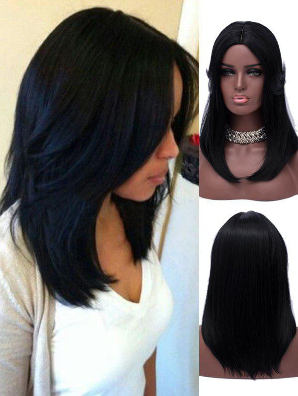 Shop Long Tail Upwards Center Parting Straight Synthetic Wig