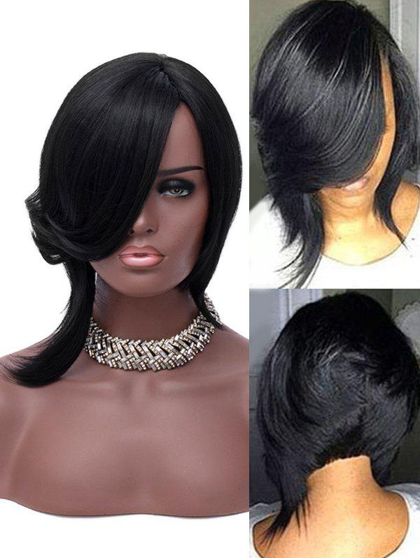 New Inclined Bang Short Asymmetric Straight Synthetic Wig