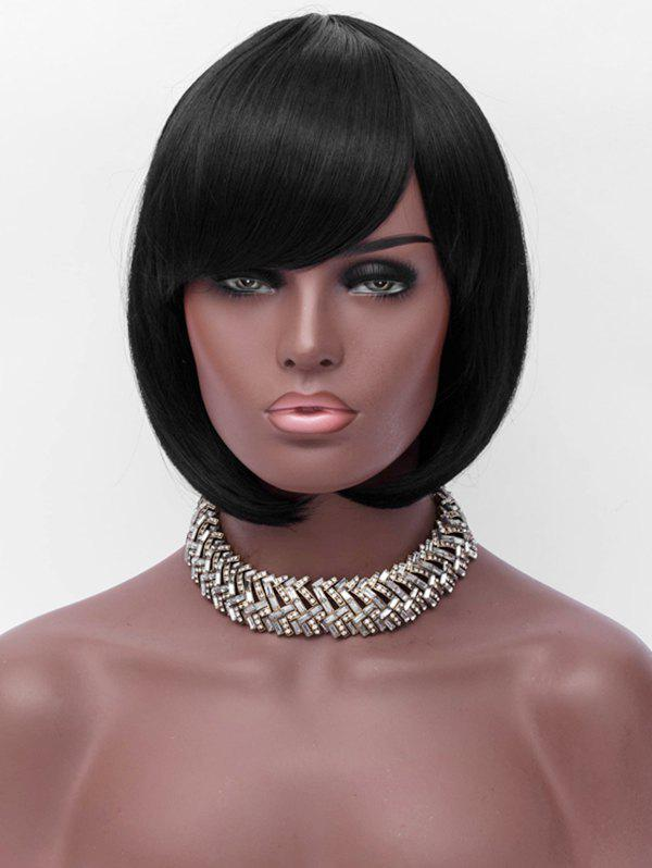 Online Oblique Bang Capless Short Straight Synthetic Wig