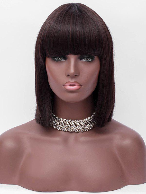 Fancy Full Bang Short One-length Straight Synthetic Wig