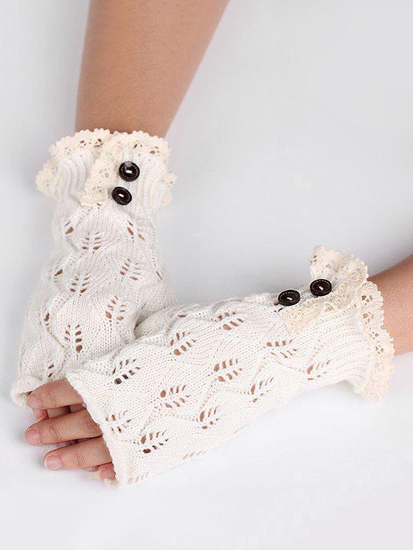 Affordable Buttons Lace Fingerless Gloves