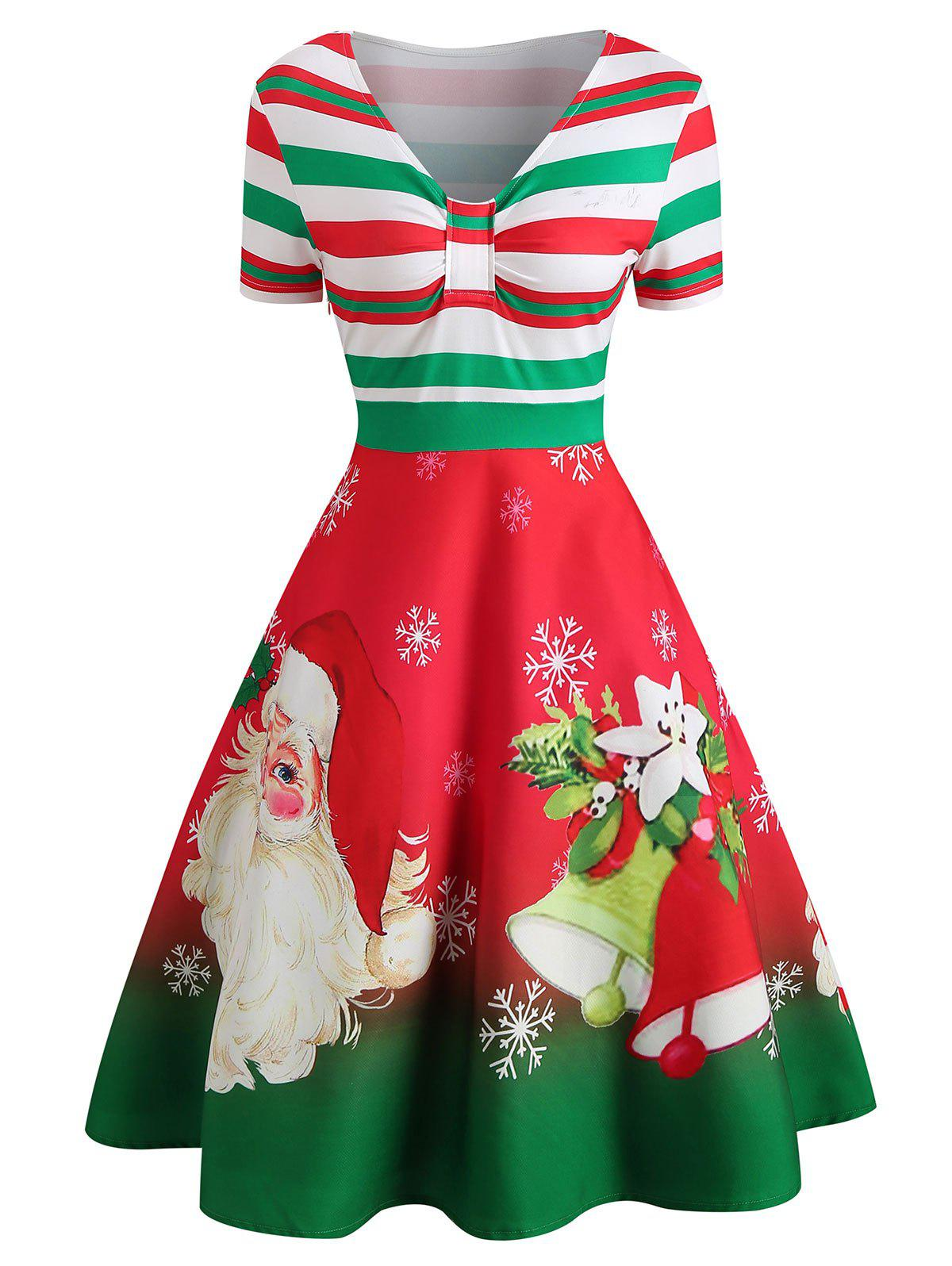 Discount Christmas Santa Print Short Sleeve Dress