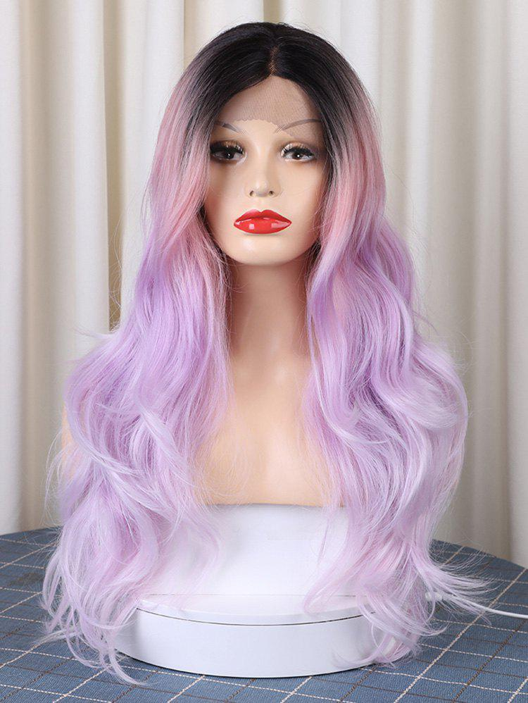 Shops Christmas Long Middle Parting Colorful Layer Wavy Synthetic Lace Front Wig