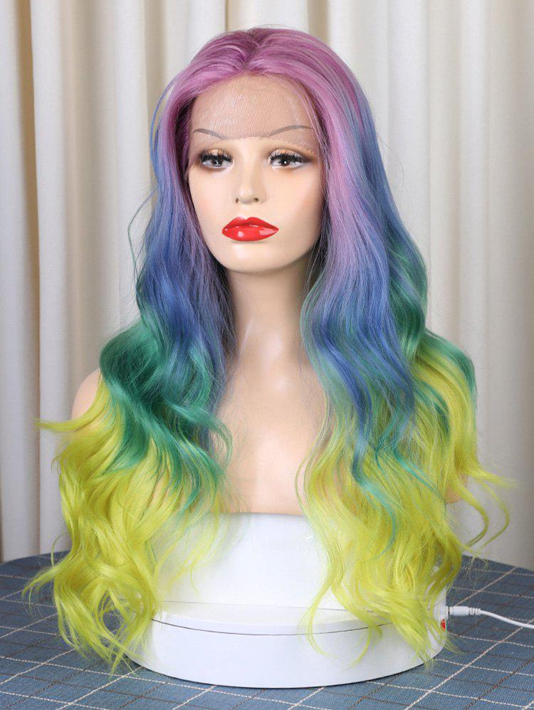Hot Christmas Long Middle Part Colorful Rainbow Wavy Synthetic Lace Front Wig