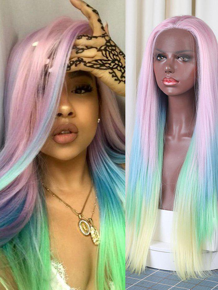 Buy Christmas Long Colorful Rainbow Straight Synthetic Lace Front Wig