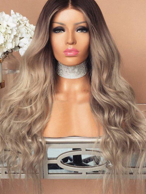 Affordable Synthetic Center Parting Colormix Long Wavy Wig