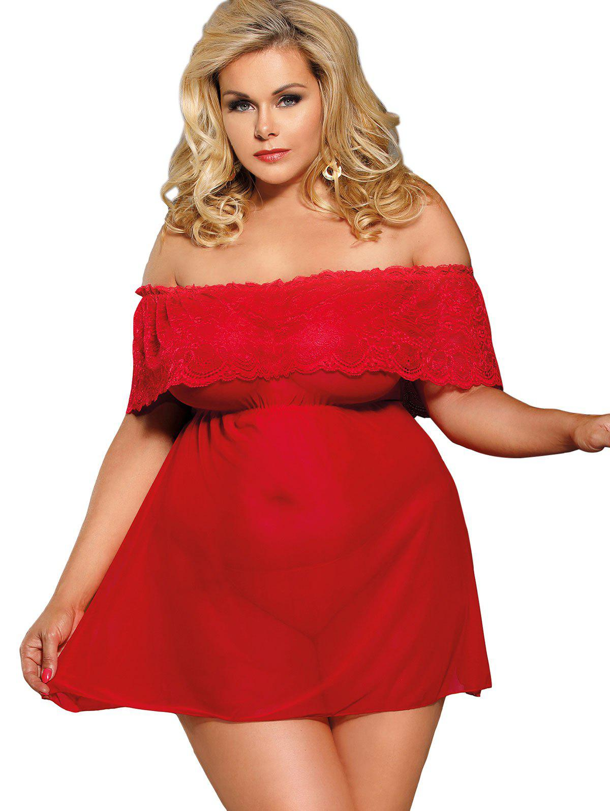 Discount Plus Size Off The Shoulder Dress Lingerie Set