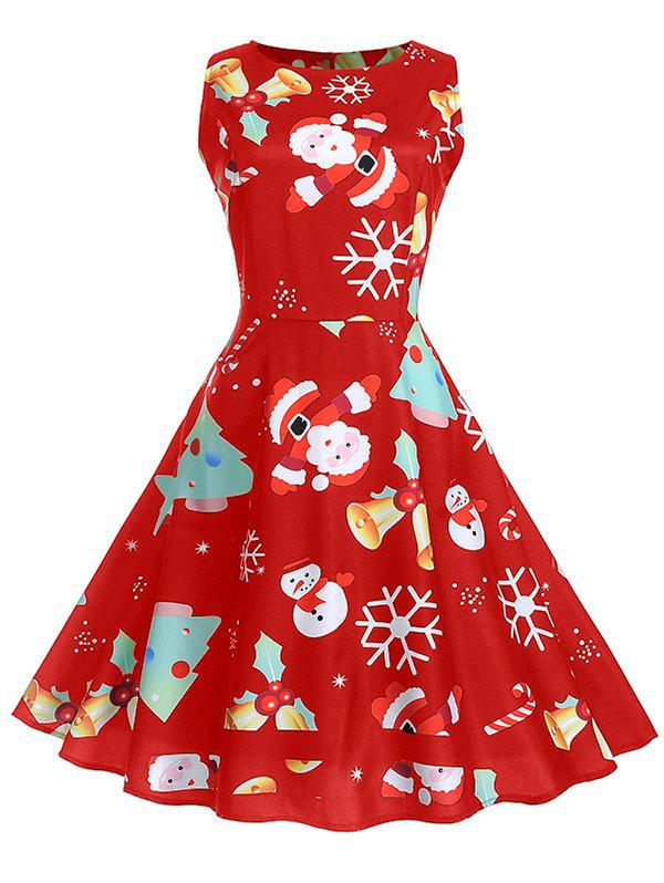 Chic Vintage Christmas Printed High Waist Dress