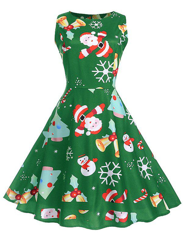 Sale Vintage Christmas Printed High Waist Dress