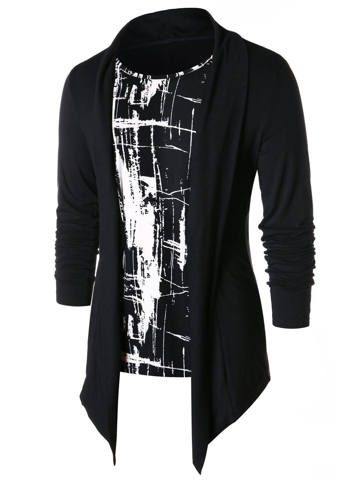 Store Faux Twinset Long Sleeve Panel T-shirt