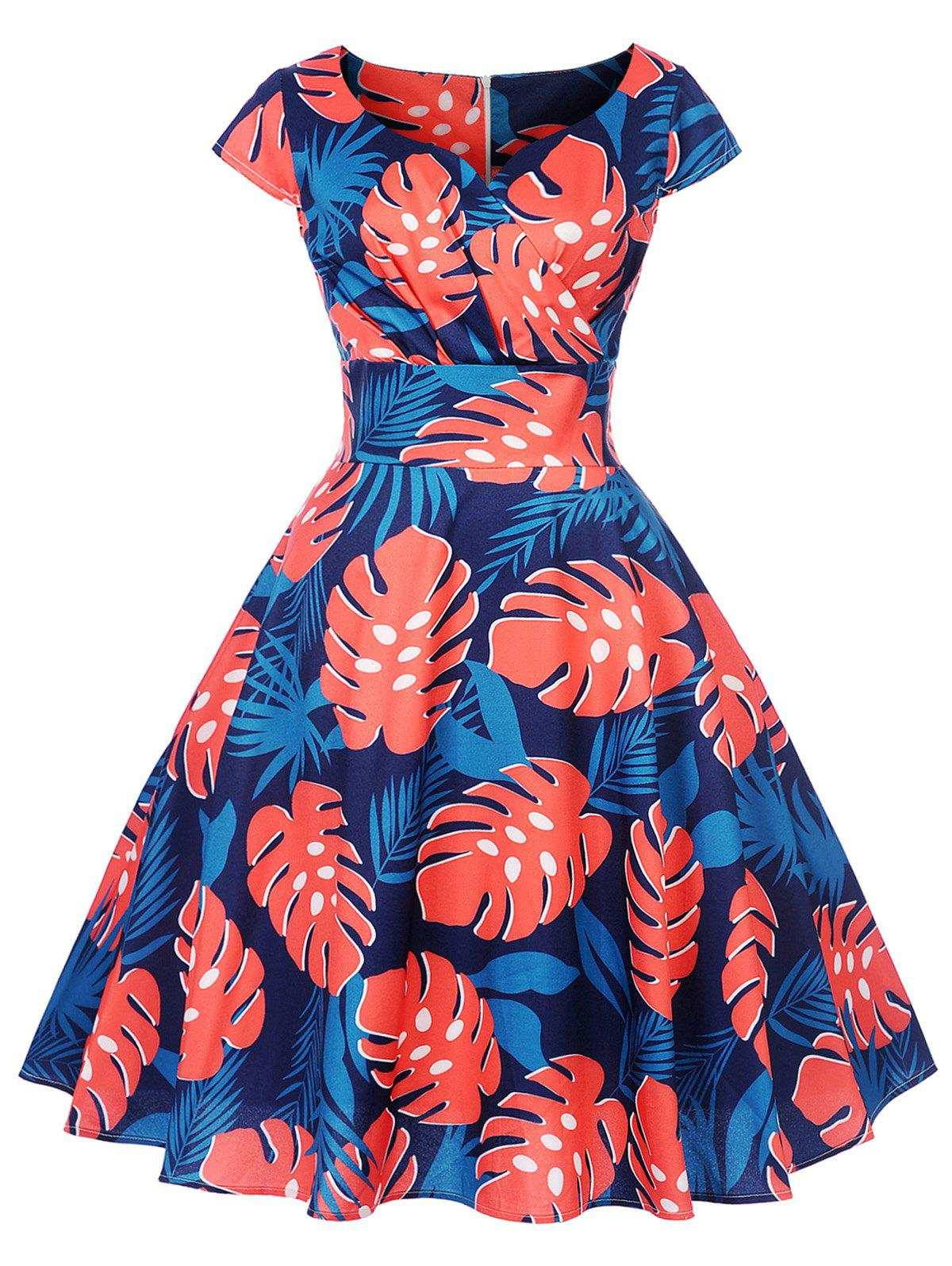 Latest Tropical Print Fit and Flare Dress
