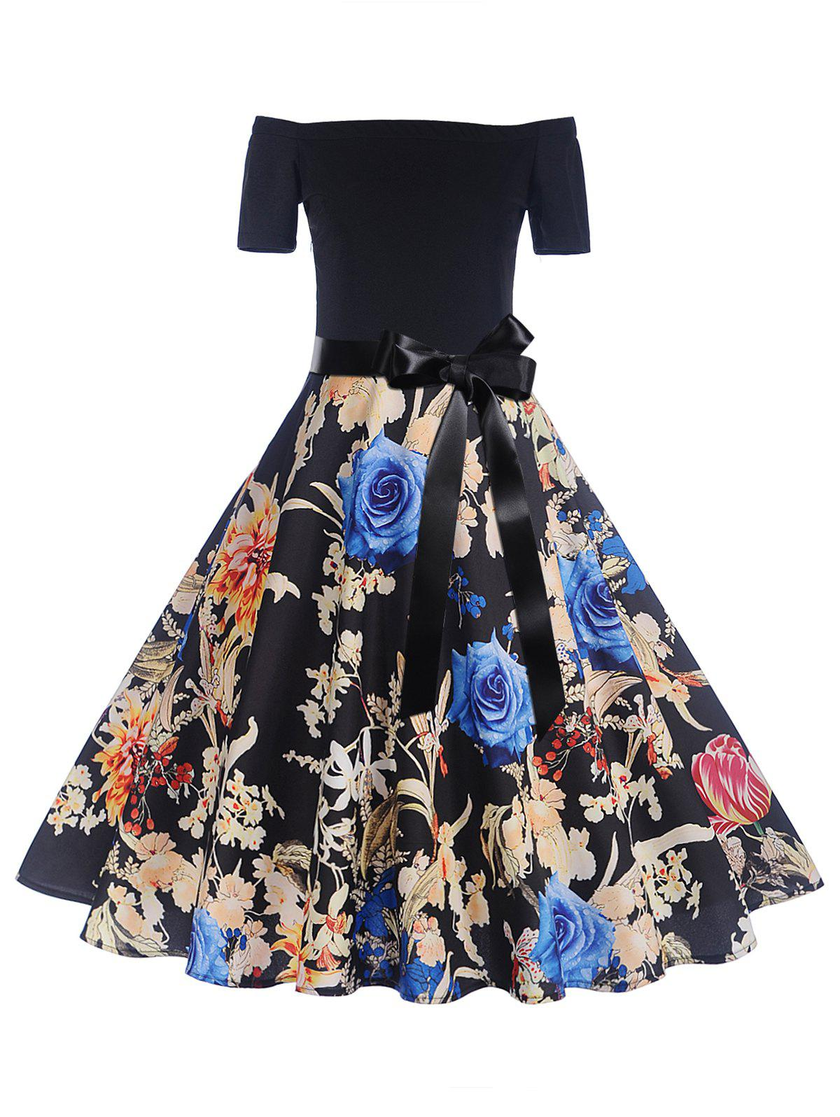 Shop Off The Shoulder Floral Print Pin Up Dress