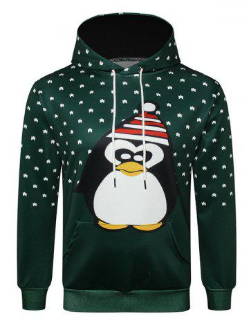 Penguin with Christmas Hat Printed Pullover Hoodie - DARK FOREST GREEN - M