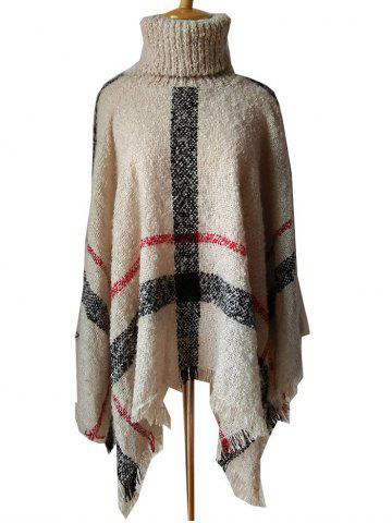 Fringed Plaid Pattern Pullover Collar Shawl Sweater