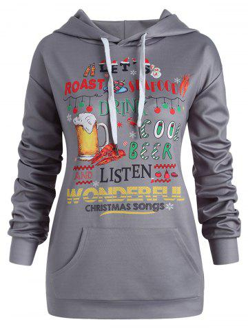 Plus Size Pullover Letters Christmas Hoodie with Pocket