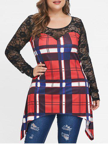 Plus Size Long Sleeves Plaid Tunic Top with Lace