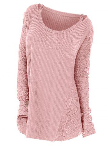 Plus Size Long Sleeves Cutout Tee with Lace