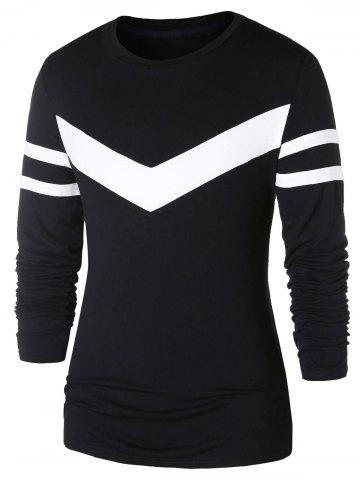 Contrast Color Long Sleeve Striped T-shirt