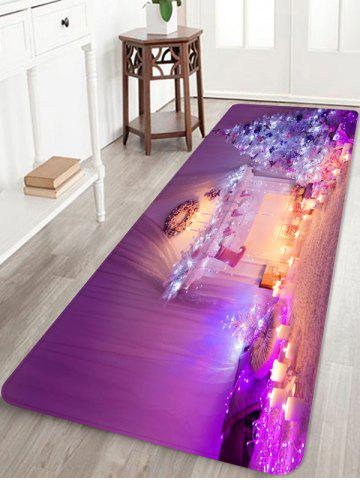 Christmas Tree Candle Printed Non-slip Area Rug - PURPLE - W16 X L47 INCH