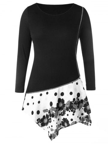 Plus Size Contrast Seam Panel Floral Polka Dot Print T-shirt