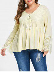 Lace Panel Lace Up Plus Size Blouse -