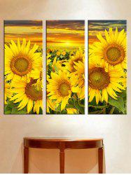 Sunset Sunflower Print Unframed Split Canvas Paintings -