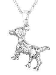 Carving Dog Stainless Steel Pendant Necklace -