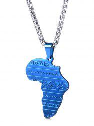 Stainless Steel Map Engraved Pendant Necklace -