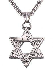 Hollow Out Hexagram Engraved Drop Necklace -