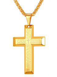 Stainless Steel Letter Print Cross Necklace -