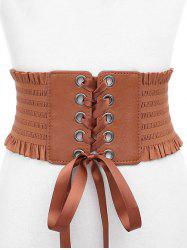 Bowknot Fringed PU Leather Wide Belt -