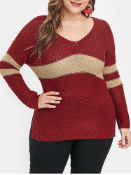 Side Slit Plus Size Striped Panel Sweater -