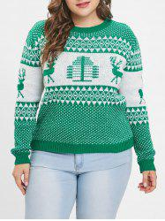 Plus Size Christmas Elk Print Sweater -