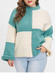 Plus Size Color Block Pullover Sweater -