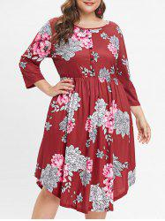 Plus Size Floral Print Button Detail A Line Dress -