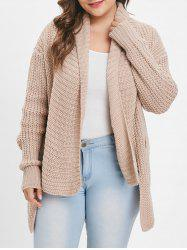 Collarless Plus Size Chunky Cardigan -